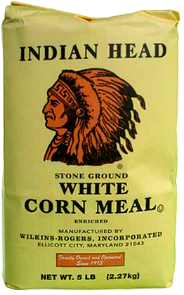 Indian Head White Corn Meal 50lb  /  HALF PAL